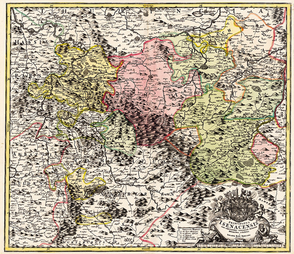 Thüringer Wald Karte.Historische Karte Amt Eisenach Und Der Thüringer Wald 1716