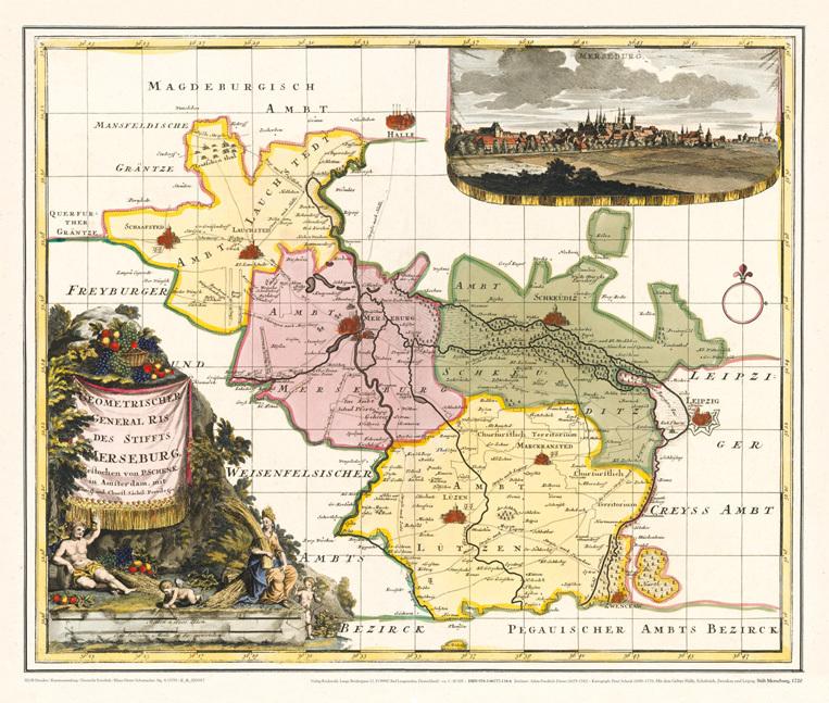 Historische Karte Stift Merseburg 1720 Plano Schenk