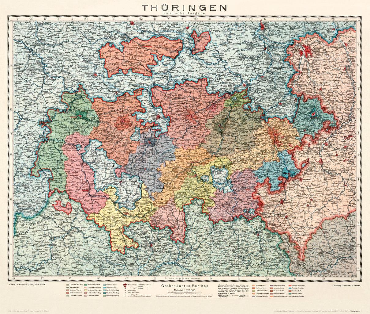 Historische Karte: LAND THÜRINGEN 1920