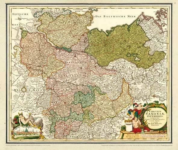 Historische Karte Norddeutschland Niedersachsen 1720