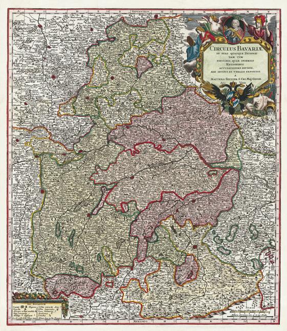 historische karte bayern 1741 plano seutter. Black Bedroom Furniture Sets. Home Design Ideas