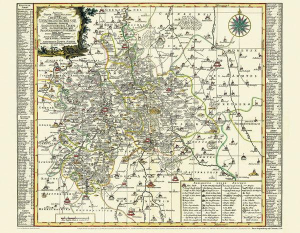 Chemnitz Karte.Historische Karte Amter Augustusburg Chemnitz Sachsenburg Mit Frankenberg Und Stollberg 1758 Pla