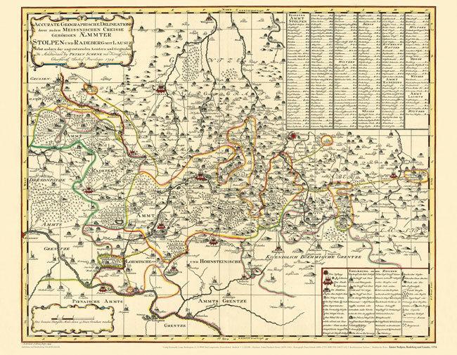 Lausitz Karte.Historische Karte Amter Stolpen Radeberg Und Lausitz 1754 Plano