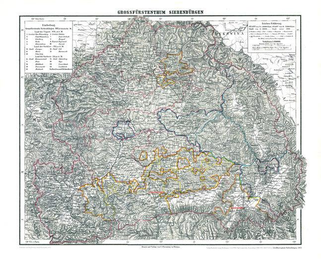 Historische Karte Grossherzogtum Siebenburgen 1853