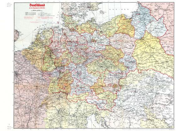 Alte Karte Deutschland 1940.Historische Karte Deutschland 1942 Plano