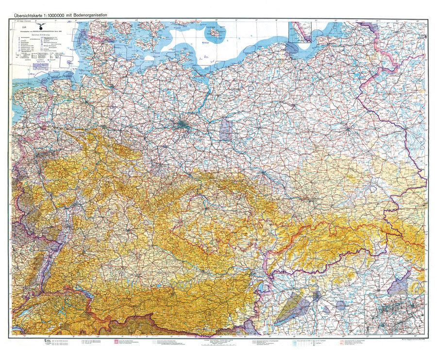 Deutsches Reich Karte.Historische Karte Deutschland Deutsches Reich 1938 1940 Mit Bodenorganisation Luftwaffe