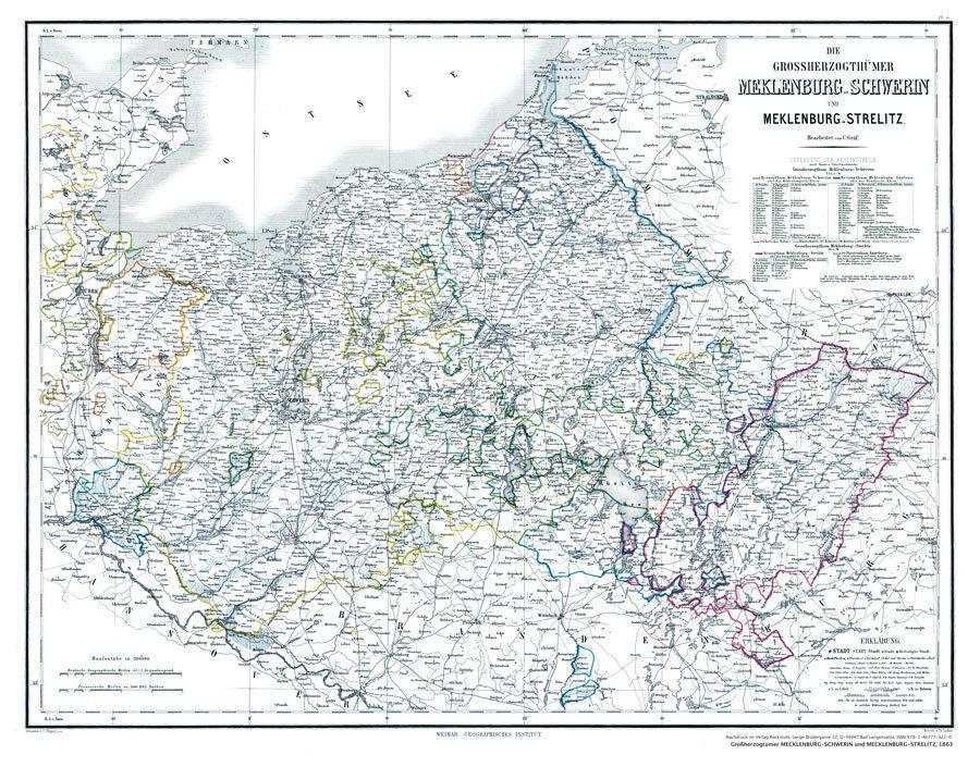 Hist Karte Grossherzogtumer Mecklenburg Schwerin Und Mecklenburg