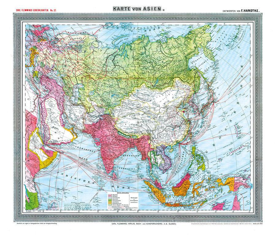 Karte Asien.General Karte Von Asien Um 1910 Plano Reprint