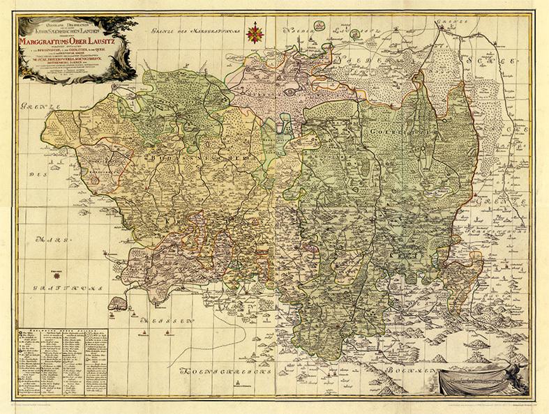 Historische Karte Markgrafschaft Oberlausitz 1759 Gerollt