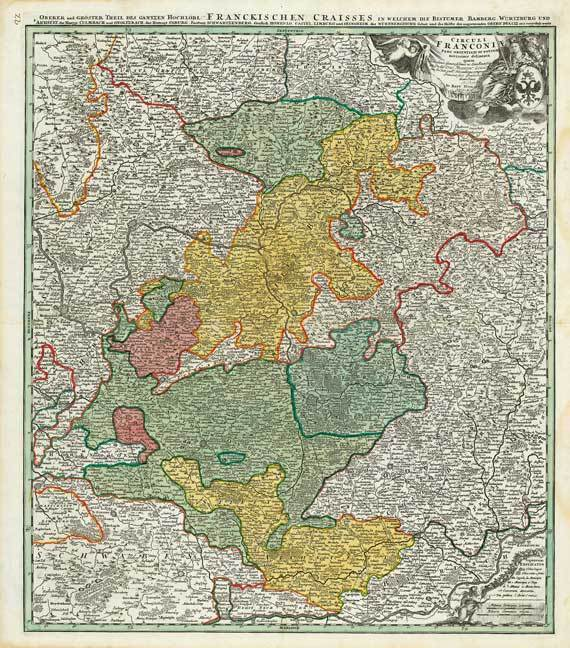 Historische Karte Franken Frankischer Kreis 1707 Reprint