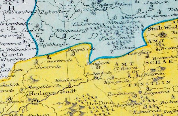 Historische Karte Das Eichsfeld Ober Und Untereichsfeld 1759