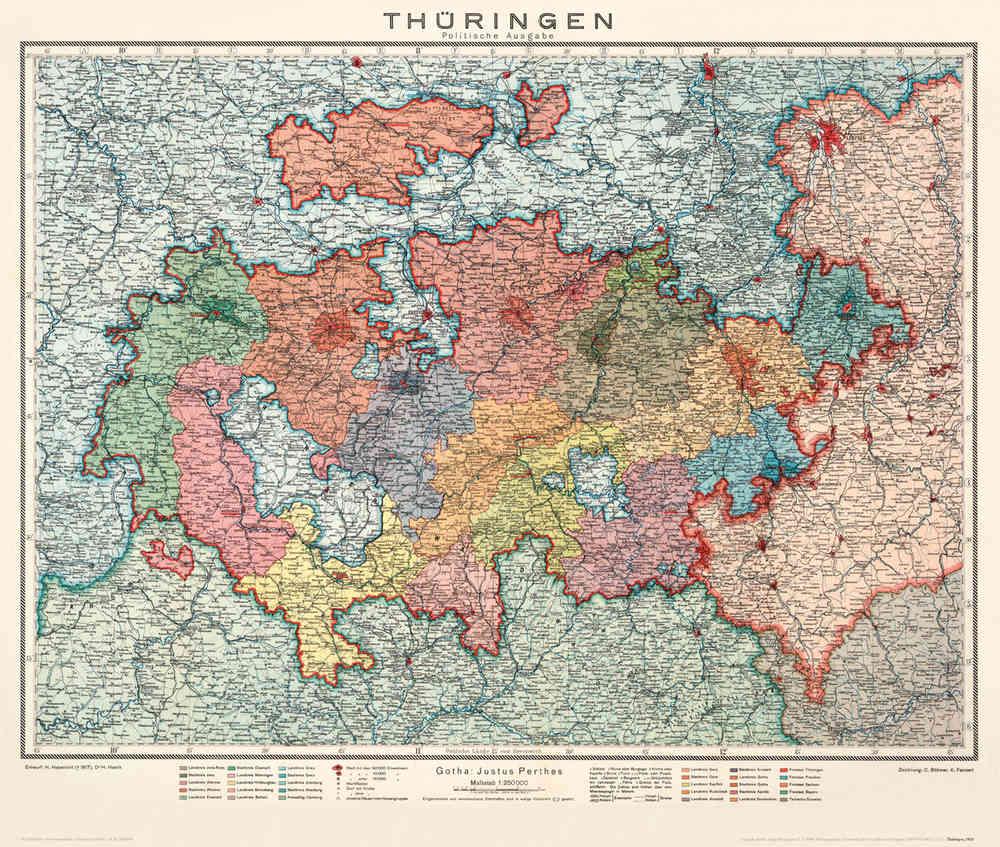 Karte Thüringen.Historische Karte Thüringen Politische Ausgabe 1920 R