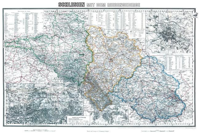 Historische Karte Schlesien Riesengebirge Um 1890 Plano