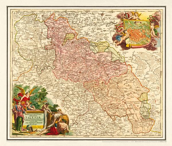 Historische Karte Schlesien 1724 Plano Von Homann