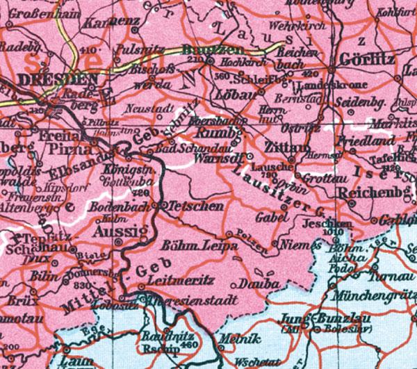 Historische Karte Deutschland Sudetenland 1938 Plano R