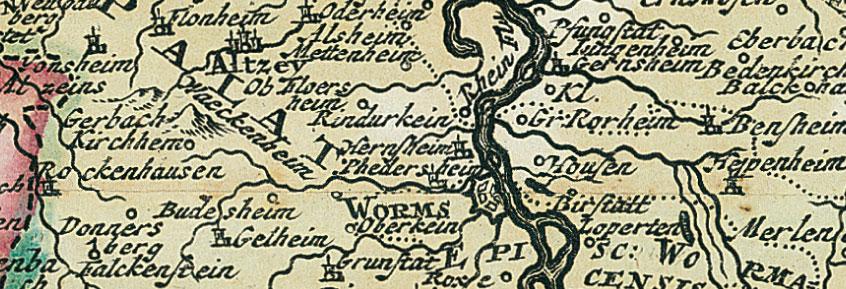 historische karte rhein 1690 rheinlaufkarte plano von. Black Bedroom Furniture Sets. Home Design Ideas