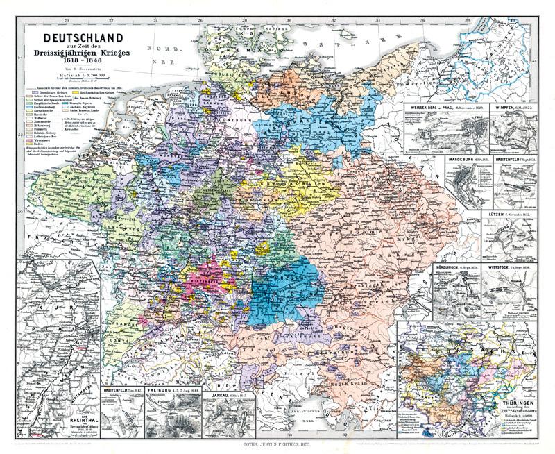 30 jähriger krieg karte Hist. Karte: DEUTSCHLAND Dreissigjähriger Krieg 1618–1648 (Plano) R