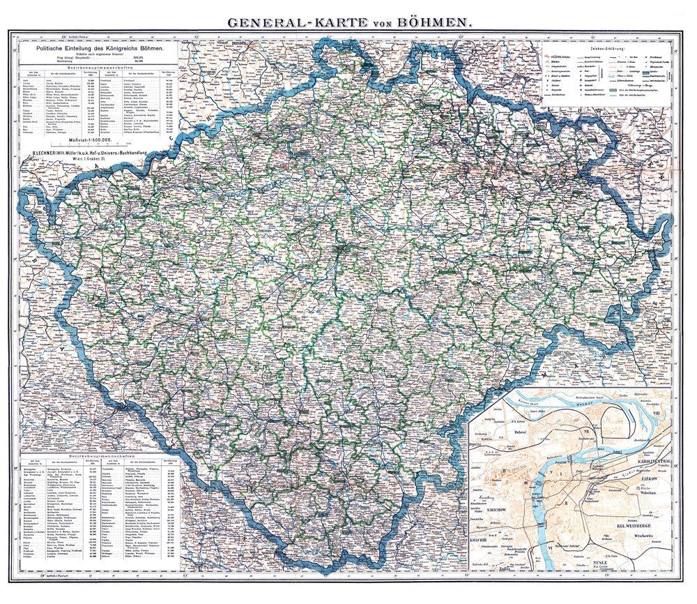 Historische General Karte Von Bohmen 1880 Plano R