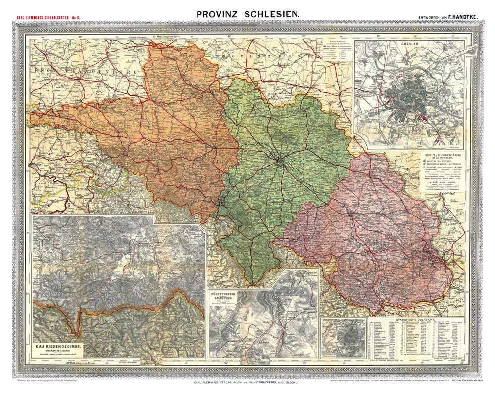 Historische Karte Provinz Schlesien Im Deutschen Reich Um 1910