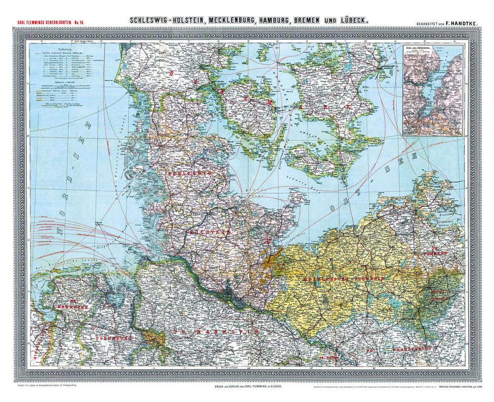 Schleswig Holstein Karte.Historische Karte Provinz Schleswig Holstein Im Deutschen Reich