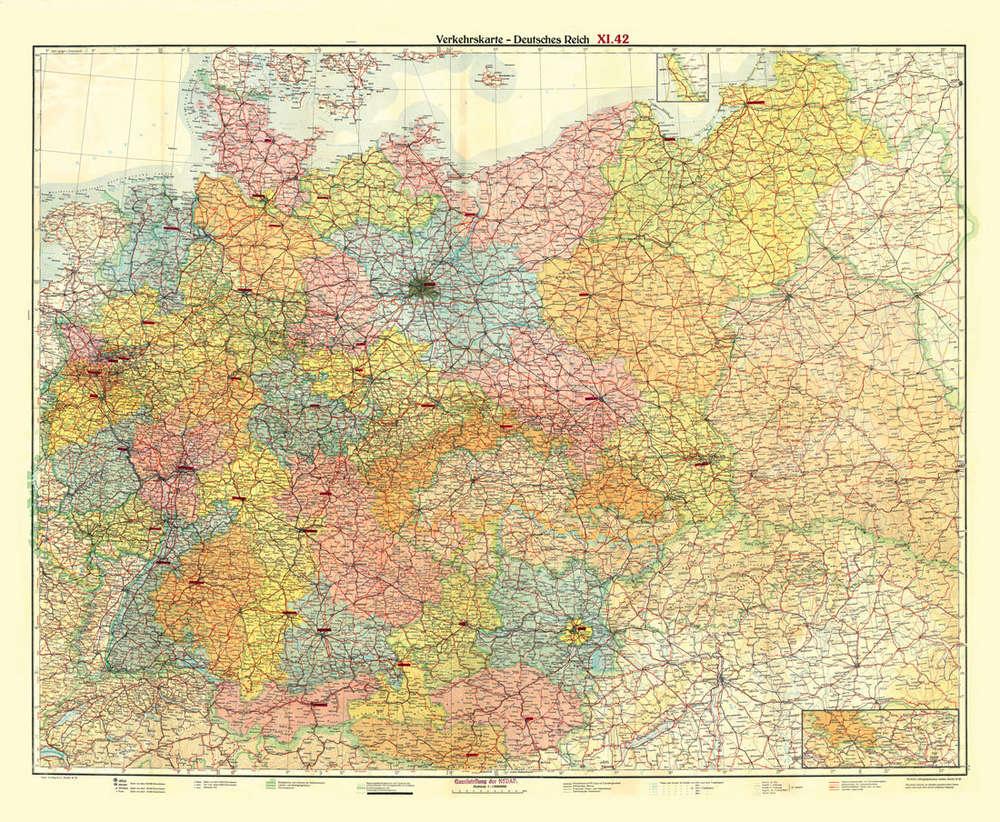 Karte Deutsches Reich 1914.Historische Ubersichtskarte Deutsches Reich Verkehrskarte